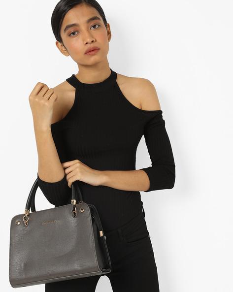 Handbag With Detachable Strap By Lino Perros ( Grey )