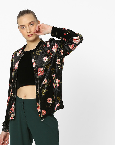 Floral Print Jacket With Insert Pockets By Vero Moda ( Black )