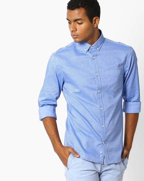 Printed Slim Fit Shirt By Celio ( Lightblue )