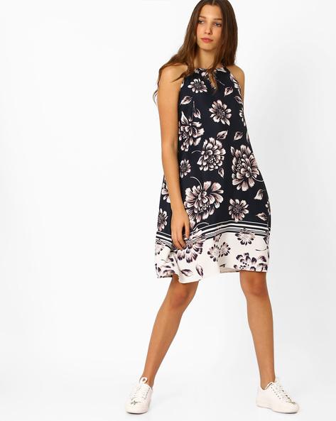 Printed Strappy Dress By AJIO ( Navyblue )