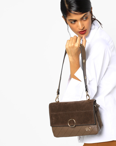 Textured Sling Bag With Flap Closure By E2O ( Coffee )