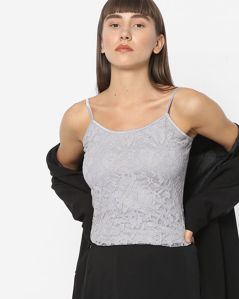 Floral Lace Spaghetti Top By CODE By Lifestyle ( Darkgrey )