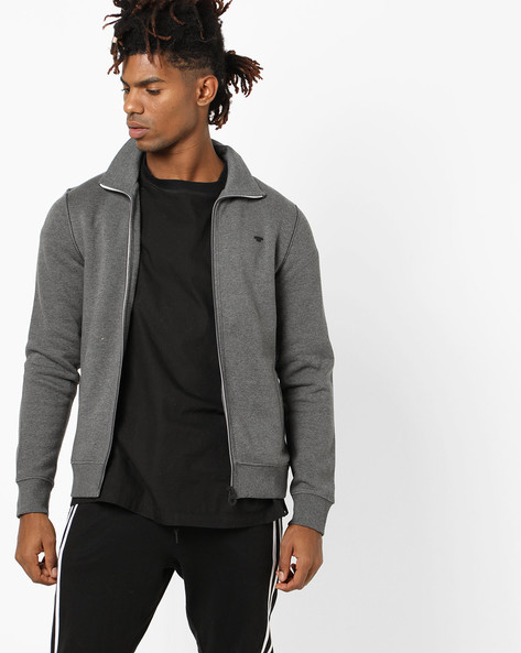 Front-Zip Sweatshirt With Pockets By Tom Tailor ( Grey )