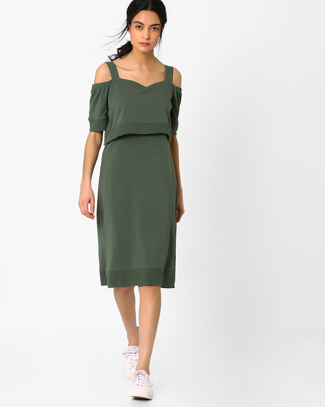 Cold-Shoulder Popover Dress By AJIO ( Green )