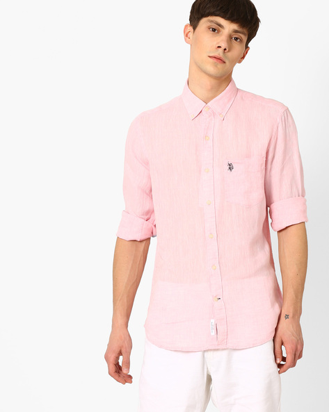 Linen Shirt With Patch Pocket By US POLO ( Pink )