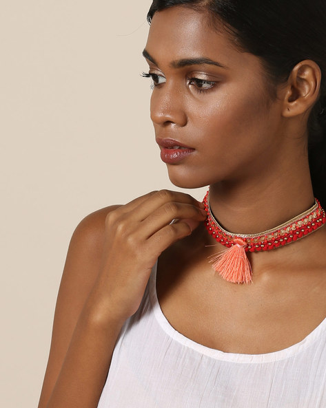 Beaded Choker Necklace By Indie Picks ( Red )