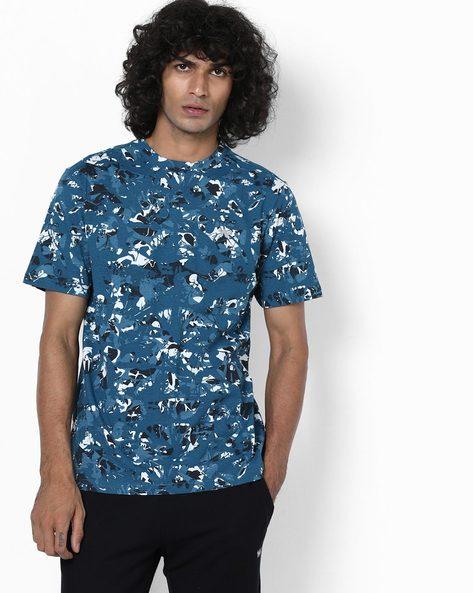 Camouflage Print Crew-Neck T-shirt By Wildcraft ( Blue )