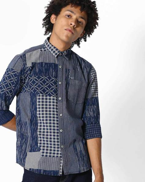 Slim Fit Shirt With Patch Print By FLYING MACHINE ( Indigo )
