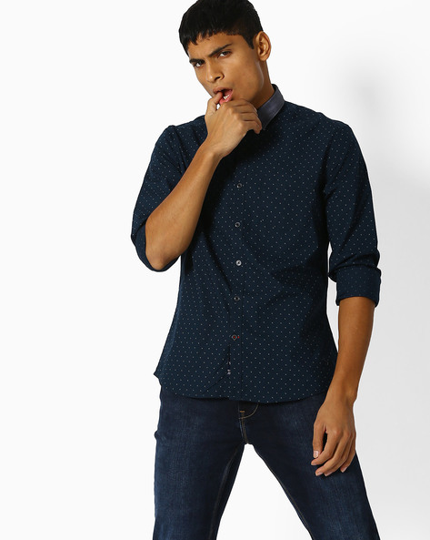 Ditsy Print Shirt With Contrast Collar By NETPLAY ( Navy )