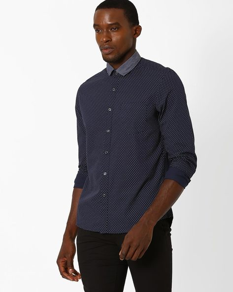 Printed Shirt With Chest Pocket By NETPLAY ( Blue )