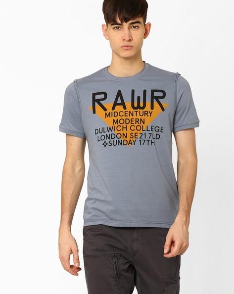 Industrial Print Crew-Neck T-shirt By AJIO ( Blue )