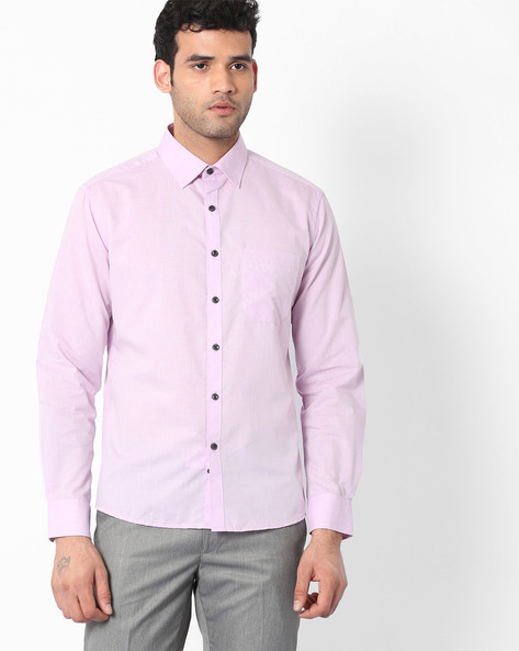 Fil-a-Fil Shirt With Patch Pocket By NETWORK ( Ltpurple )