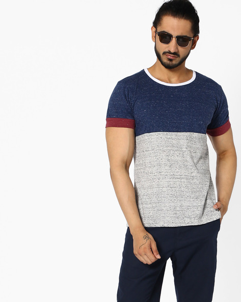 Colourblock Crew-Neck T-shirt By ANTIFERRO ( Blue )