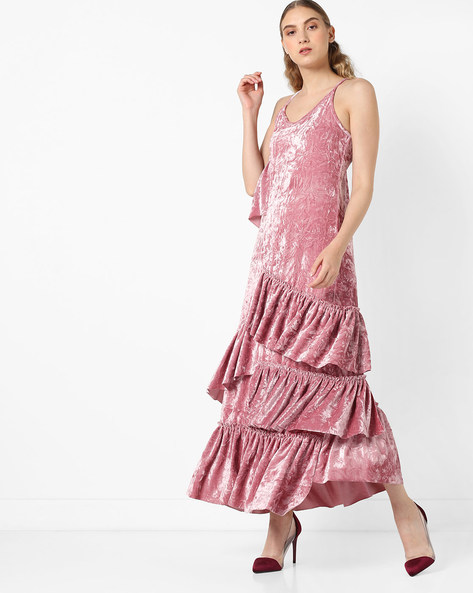 Strappy Dress With Ruffled Overlay By Glamorous ( Pink )
