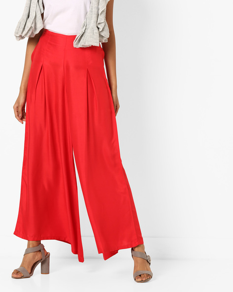 Palazzo Pants With Elasticated Waist By Bitterlime ( Red )