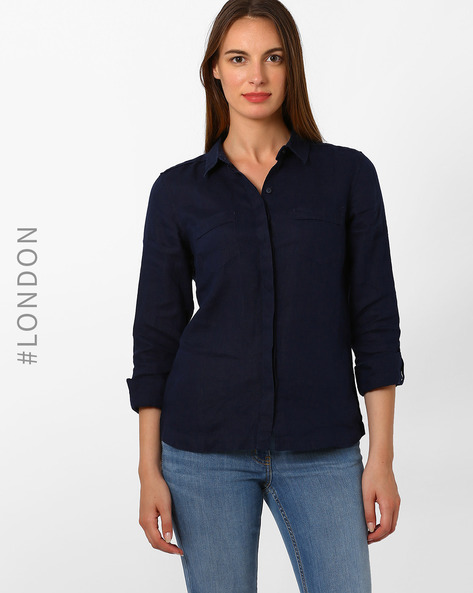 Linen Shirt With Roll-Tab Sleeves By Marks & Spencer ( Navyblue )