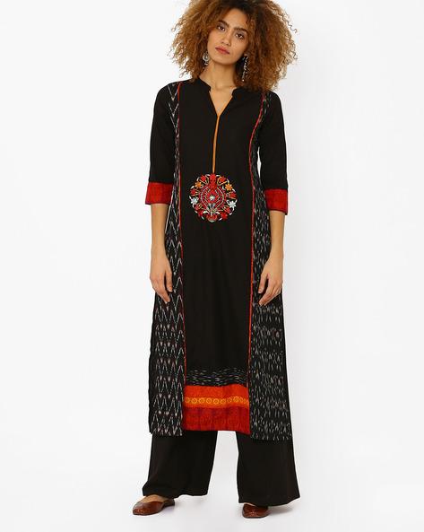 Cotton Straight Kurta With Embroidery By Kifahari ( Black )