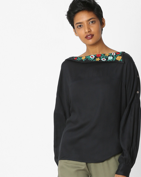 Top With Embroidered Neckline By Rena Love ( Navyblue )