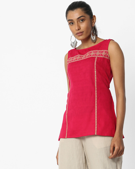 Sleeveless Self-Design Tunic By FUSION ( Magntafusha )