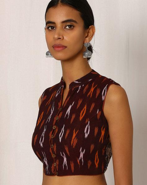 Kalamkari Handblock Print Cotton Blouse With Ikat By Indie Picks ( Brown )