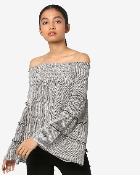 Striped Off-Shoulder Top With Tiered Flared Sleeves By RIO ( Black )