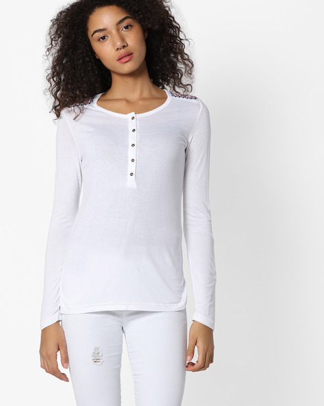 Top With Embroidered Yoke By DNM X ( White )