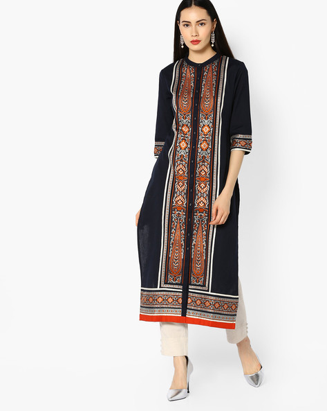 Embroidered Kurta With Mandarin Collar By W ( Blue )