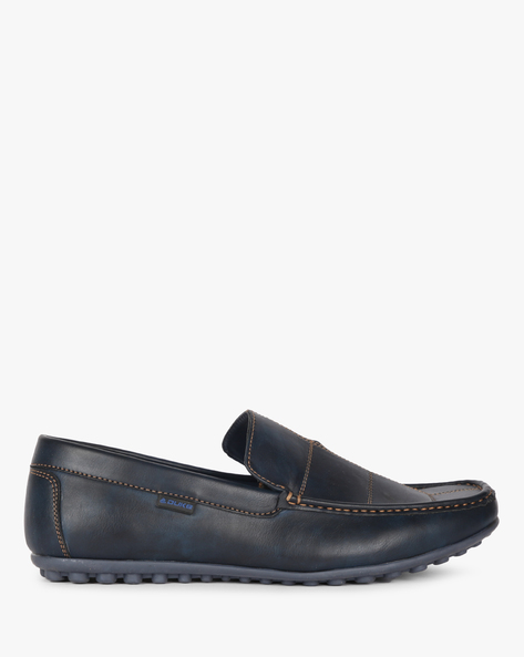 Textured Loafers With Running Stitch Detail By DUKE ( Navy )