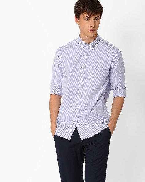 Striped Slim Fit Formal Shirt By British Club ( Blue )