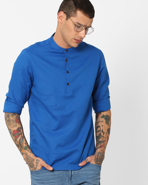 Shirt With Mandarin Collar By AJIO ( Blue )