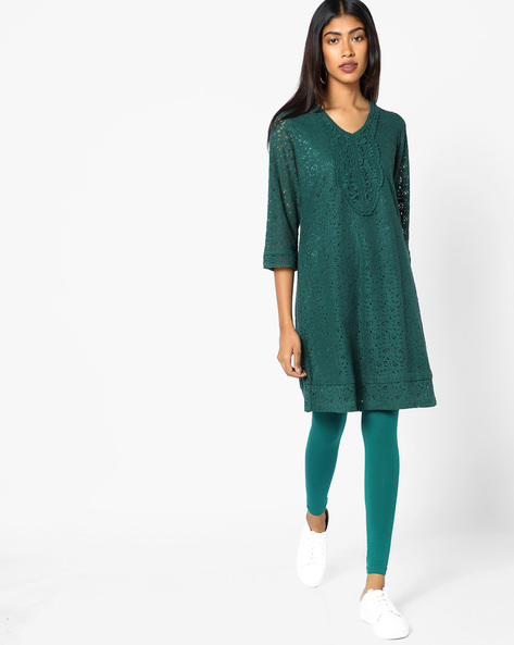 Cotton Straight Kurta By COLOUR ME ( Darkgreen )