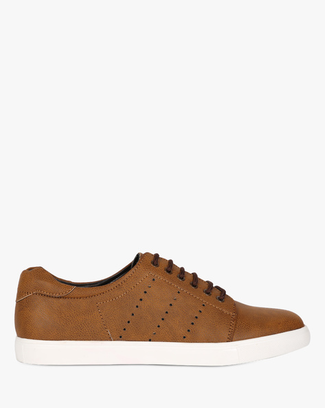Lace-Up Sneakers With Cut-Outs By SAN FRISSCO ( Tan )