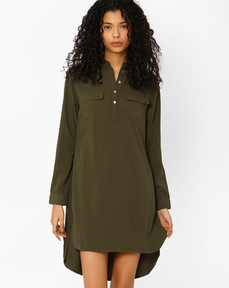 Shirt Dress With Patch Pockets By AJIO ( Olive )