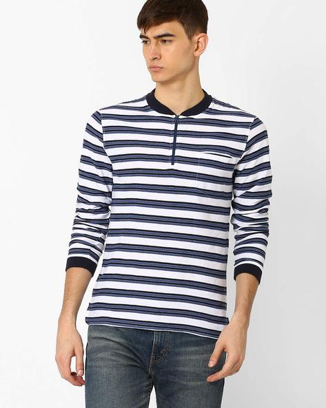 Slim Fit Striped T-shirt By VOI JEANS ( Blue )