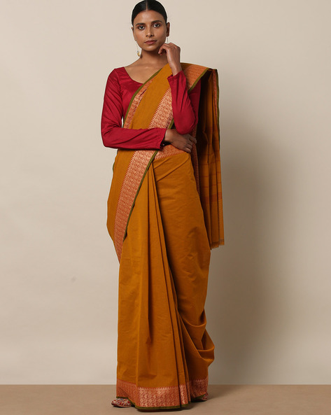 Kanchi Cotton Saree With Woven Border By Indie Picks ( Brown ) - 460164742001