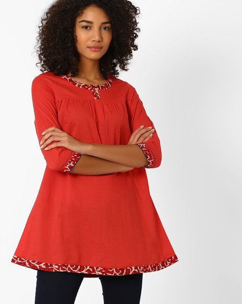 Cotton Tunic With Gathers By AJIO ( Red )
