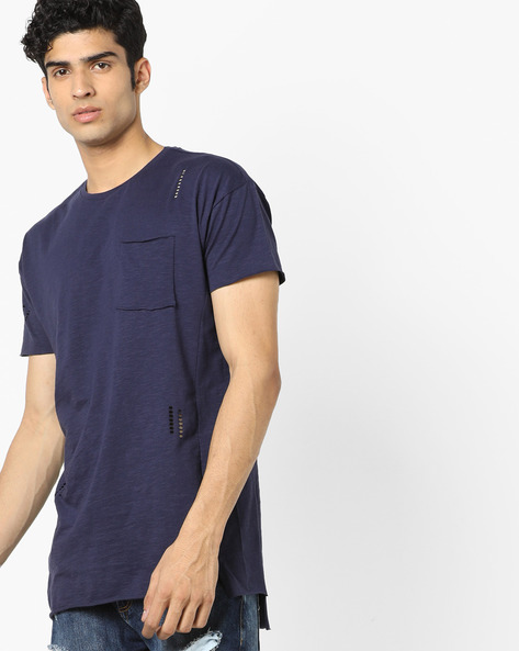 Longline Crew-Neck T-shirt With Cut-Outs By AJIO ( Bluenight )