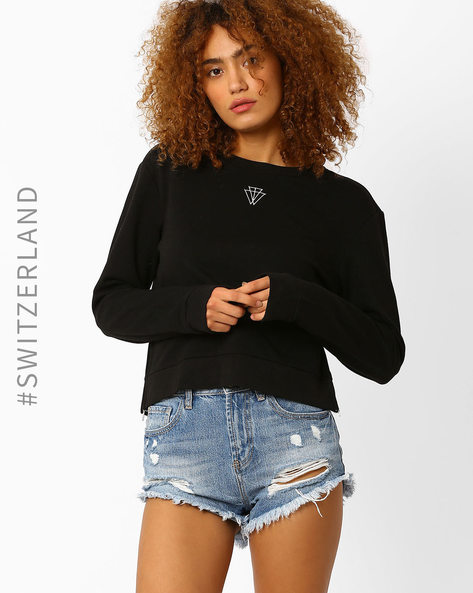 Crew-Neck Sweatshirt With Side Zip By TALLY WEiJL ( Black )