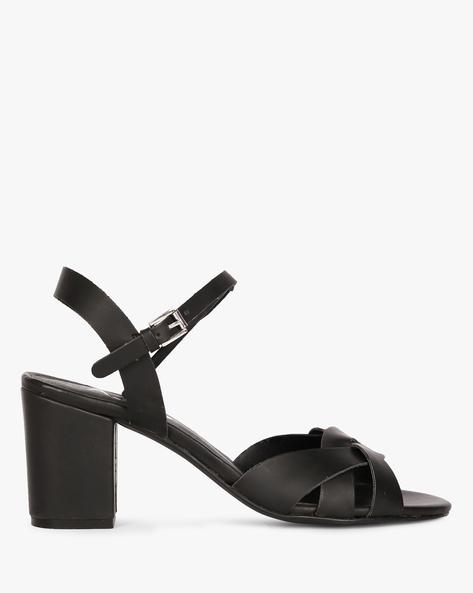 Strappy Chunky-Heeled Sandals By AJIO ( Black )