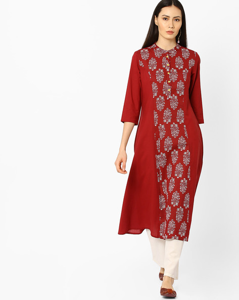Printed Flared Kurta With Mandarin Collar By AJIO ( Maroon )