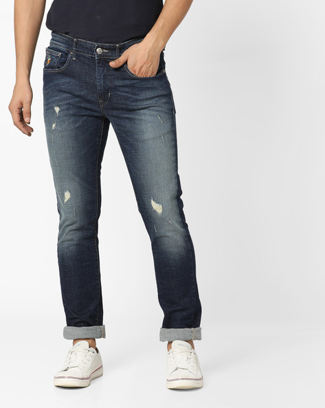 Regallo Distressed Skinny Jeans By US POLO ( Blue )