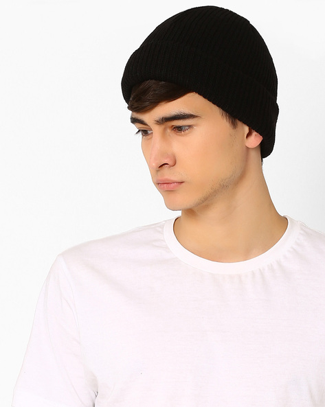 Knitted Beanie With Upturned Hems By Vans ( Black )