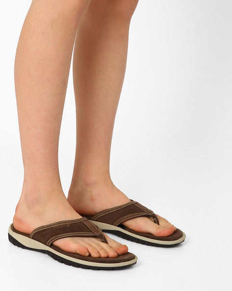 Genuine Leather Flip-Flops By WOODLAND ( Brown )