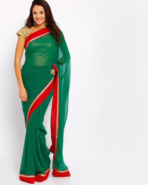 Chiffon Saree With Shimmery Border By Majestic Silk ( Green )