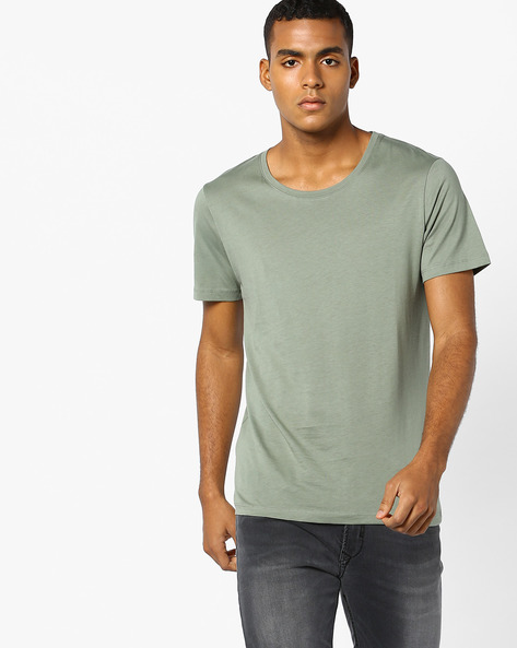 Cotton Crew-Neck T-shirt By SELECTED ( Lightblue )