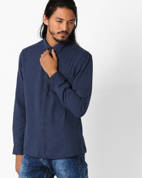Regular Fit Shirt With Button-Down Collar By NETPLAY ( Blue )