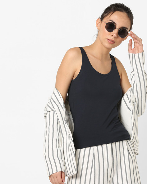 Tank Top With Scoop Neck By Only ( Sblue )