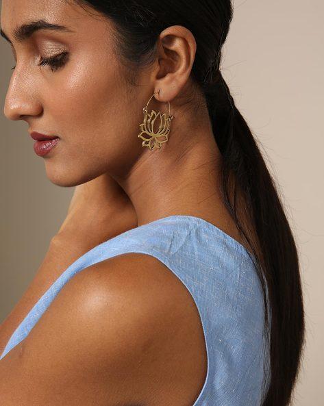 Lotus-Shaped Filigree Brass Hoop Earrings By GYPSYJ ( Gold )