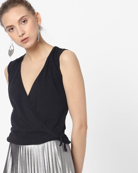 Sleeveless Top With Surplice Neckline By ANONYMOUS CO ( Black )