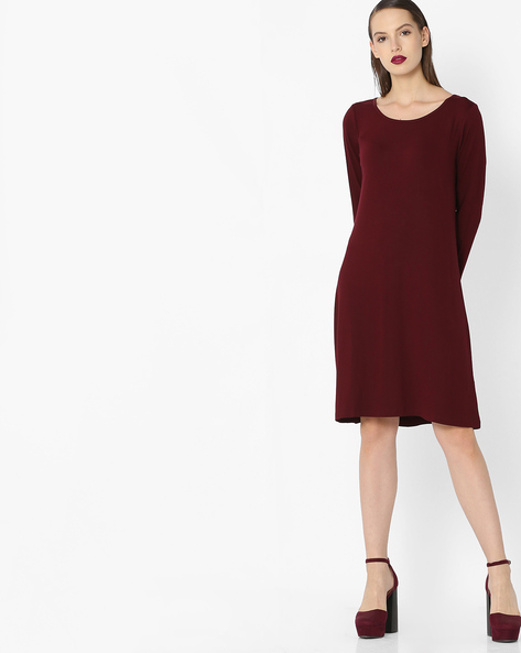 Shift Dress With Full Sleeves By Project Eve WW Casual ( Burgandy )
